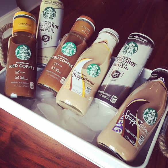 Starbucks cold bottled beverages.