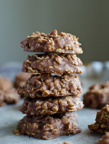 stack of no bake chocolate oatmeal cookies