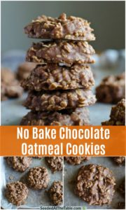 pinterest collage for no bake chocolate oatmeal cookies