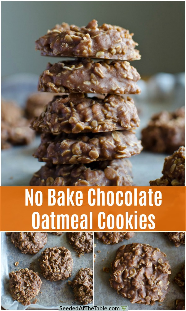 These classic no bake cookies are the quickest and easiest kind of cookie!  Make these no bake chocolate oatmeal cookies in the summer or the winter.  Everyone loves the chocolate peanut butter combination of these no bake cookies!