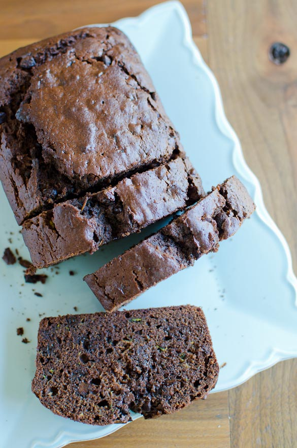 Slices of chocolate zucchini bread.