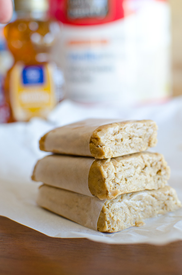 Stack of peanut butter protein bars