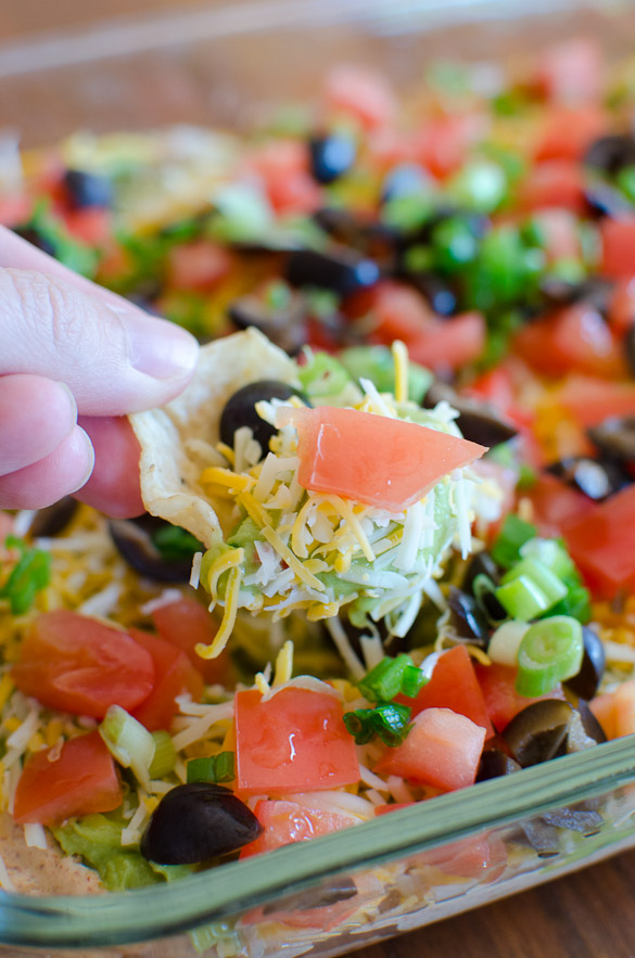 Seven Layer Tex Mex Dip Recipe - The easiest and quickest Mexican dip recipe with layers of refried beans, guacamole, taco seasoned sour cream and more!