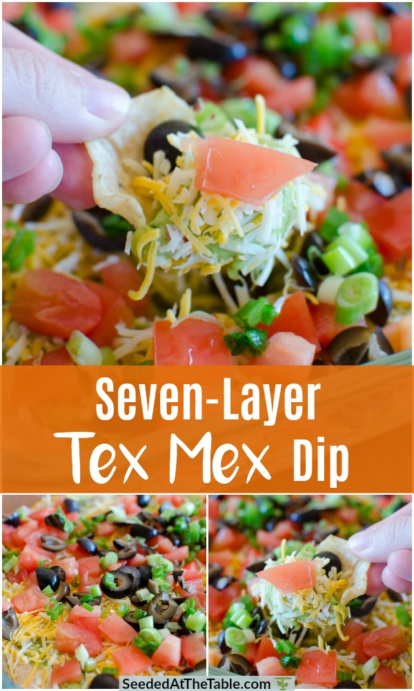 This Seven Layer Dip recipe is EASY and a QUICK appetizer for any party year-round.  A Mexican dip with layers of refried beans, guacamole, sour cream, black olives, tomatoes and cheddar cheese.  Serve with scoop chips, crackers or veggies.