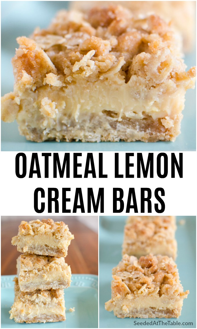 These easy Oatmeal Lemon Cream Bars have a creamy lemon filling between two thick crumbly oatmeal layers.  A delightful balance of sweet and tangy!
