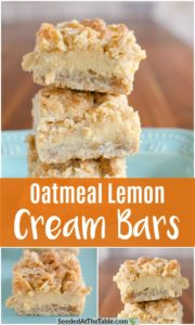 Collage of Oatmeal Lemon Cream Bars.