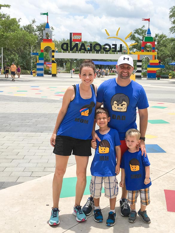 Family LEGO shirts plus photos of LEGOLAND Florida Resort in Winter Haven, FL near Orlando.