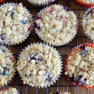 Strawberry Blueberry Banana Oat Muffins