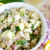 Summer Quinoa Salad - fresh lemony dressing and naturally gluten-free. Put together within minutes!