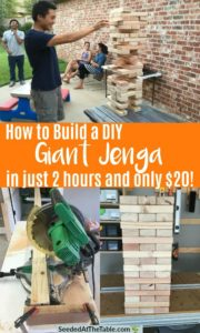 Collage of person playing giant jenga and table saw.