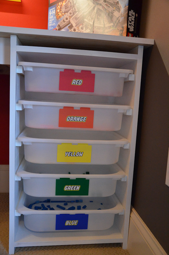 LEGO Room and LEGO Desk - A step by step on how to design a LEGO room in your house with a LEGO desk. LEGO storage. LEGO decals