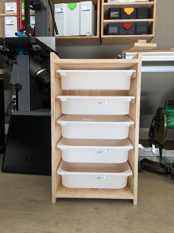 LEGO storage shelf in workshop