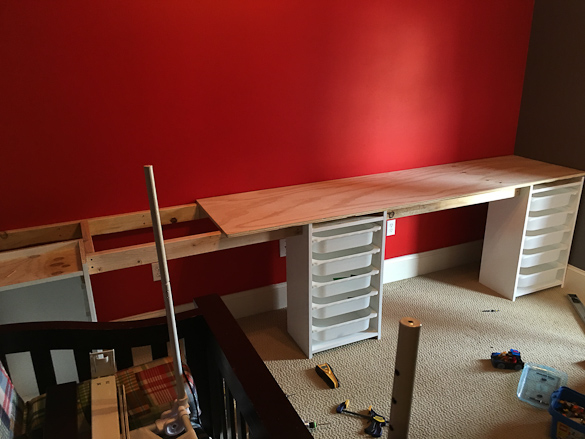 LEGO desk being built.