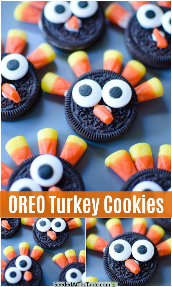 How to make these easy OREO Turkey Cookies with just 4 ingredients.  A fun Thanksgiving kids snack they can make with you!  Simple step by step instructions for Easy Thanksgiving OREO Turkey Cookies!