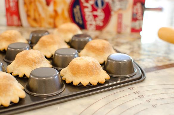 mini pie crusts baked on upside down min muffin pan