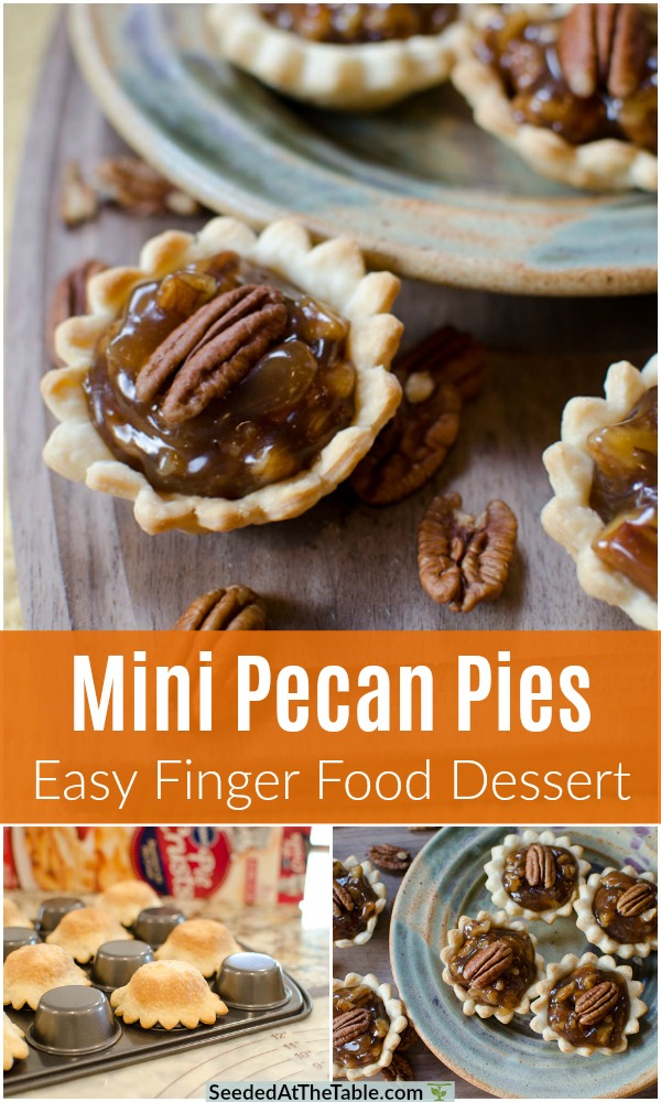 In just 30 minutes you can make these mini pecan pies for your holiday party!  The perfect finger food dessert!