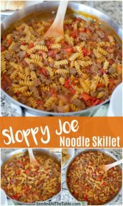 Collage of pasta dish with sloppy joe flavors.