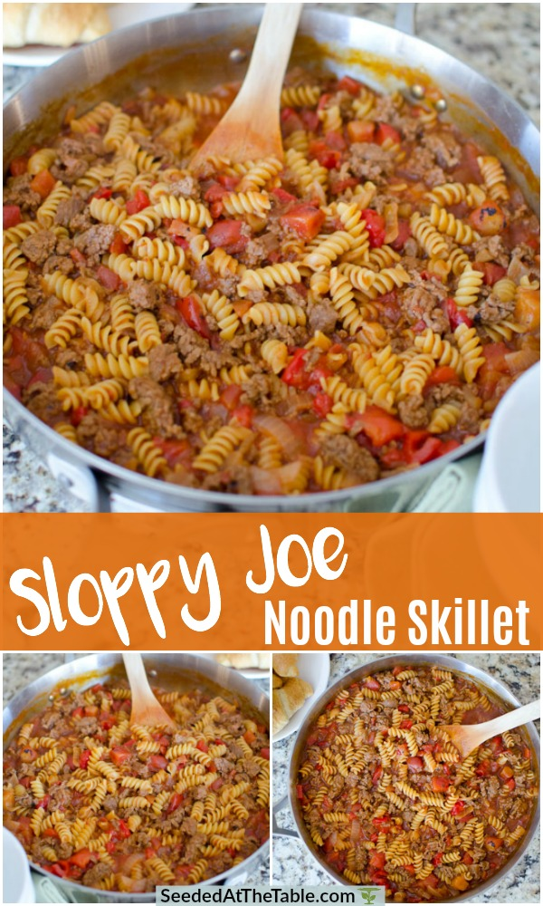 An easy one-skillet sloppy joe noodle dinner!  Our family-favorite Sloppy Joes sandwich turned into a meal you can eat from your bowl.