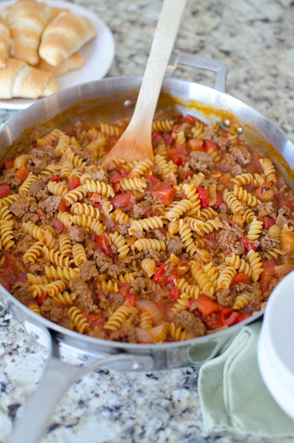 Sloppy Joe Noodle Skillet - made in ONE pan.