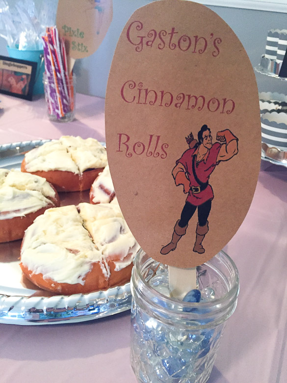 Disney Princess Bridal Shower Ideas - We put this party together within 2 days and you can too! (Gaston's Cinnamon Rolls)