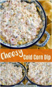 Collage of corn dip.