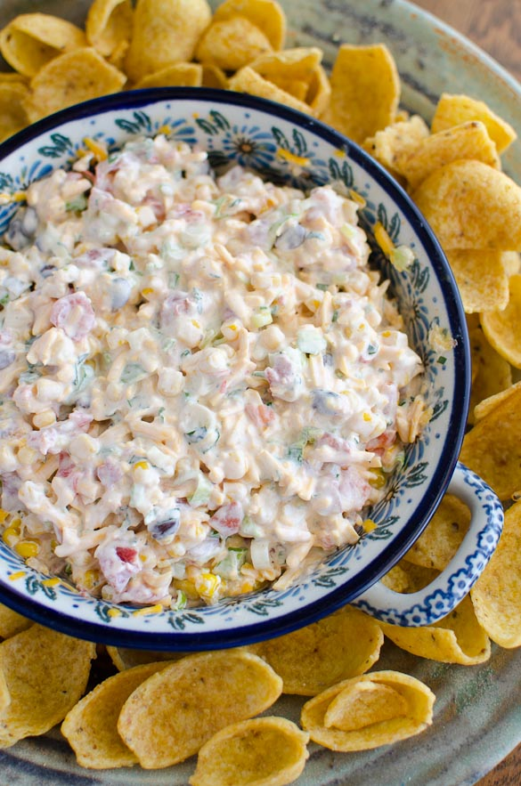 Cheesy Cold Corn Dip ready within minutes and served with Frito Scoops!