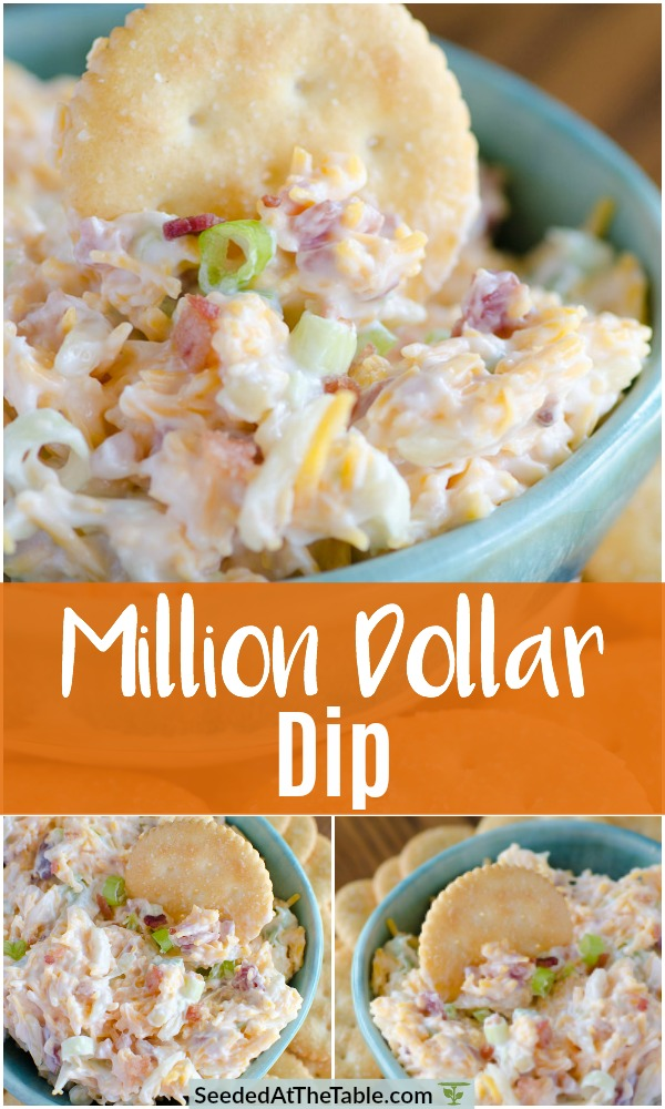 Collage of Ritz cracker dipped in Million Dollar Dip.