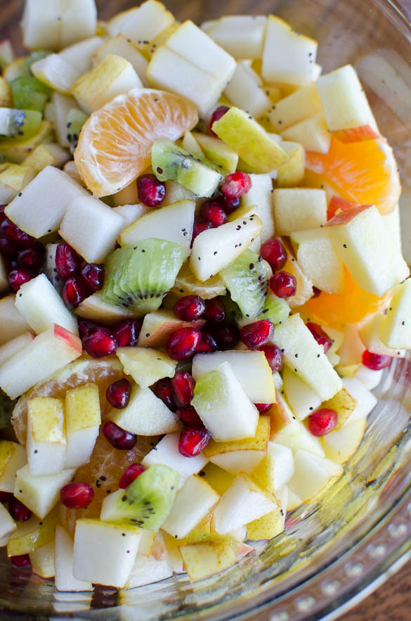 Winter Fruit Salad with Honey Lemon Poppy Seed Dressing - an easy and beautiful fruit dish for your winter gathering.