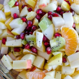 Winter Fruit Salad with Honey-Lemon Poppy Seed Dressing