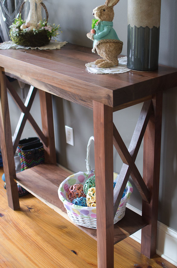 our custom made entry table is made of walnut and creates a warming place of - Entry Table