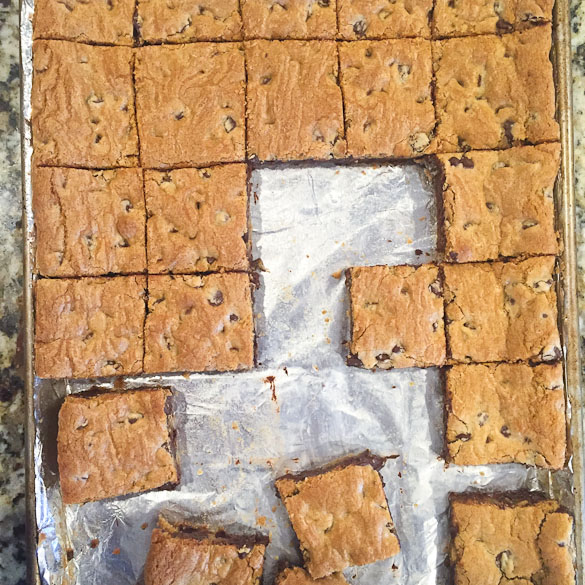 These soft and chewy Chocolate Chip Cookie Bars are great warm out of the oven or grab a square when cooled! A quick way to do chocolate chip cookies - bake dough pressed in a pan and cut into squares!