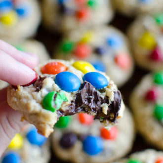 Chocolate Chip M&M Cookies - My go-to chocolate chip cookie recipe loaded with chocolate chunks and topped with M&M's. It's almost impossible to stop eating them right from the oven!