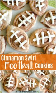 Collage of cinnamon cookies shaped and iced like footballs.