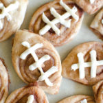 These Cinnamon Swirl Football Cookies are a fun tailgate food and a treat for your kids on game day. Use a refrigerated pie crust dough for a simple recipe.