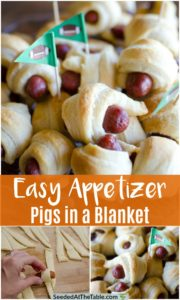 Platter of pigs in a blanket appetizer with football flags.