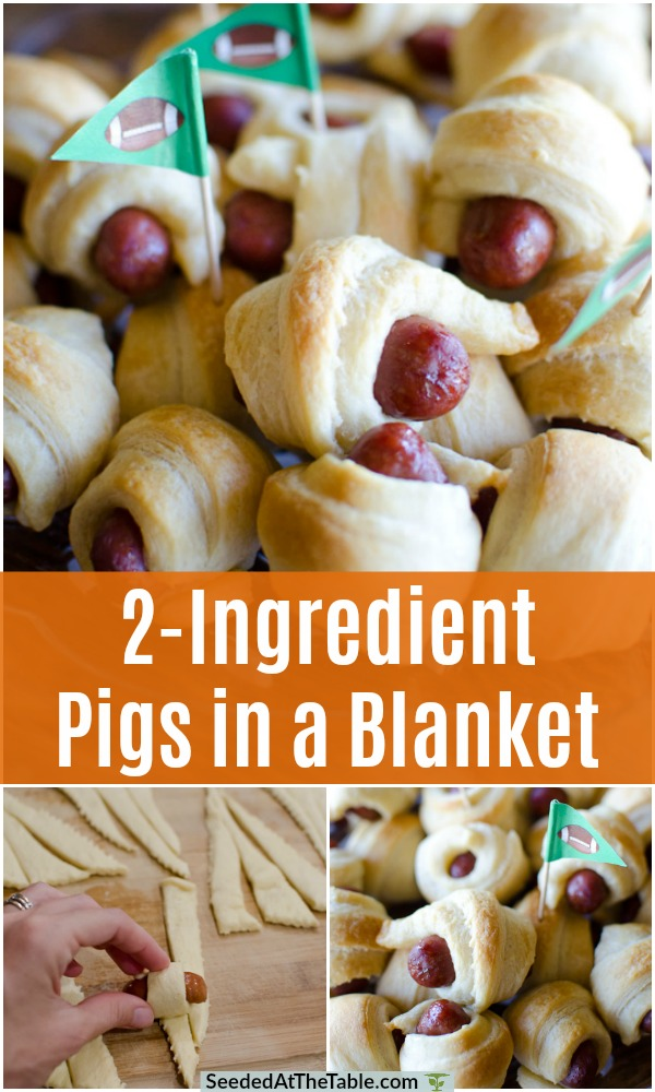 You only need 2 ingredients for this easy pigs in a blanket recipe.  Cocktail sausages and refrigerated crescent rolls make this 2-ingredient appetizer the quickest snack!