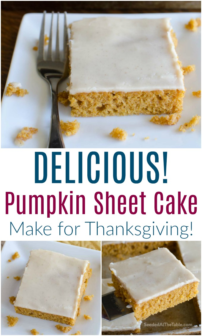 Pumpkin sheet cake is a fall favorite. This delicious pumpkin cake is baked in a sheet pan, perfect for a crowd.  Make this for Thanksgiving dessert!