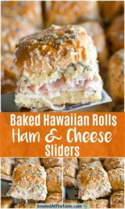 Collage of ham and cheese sliders.