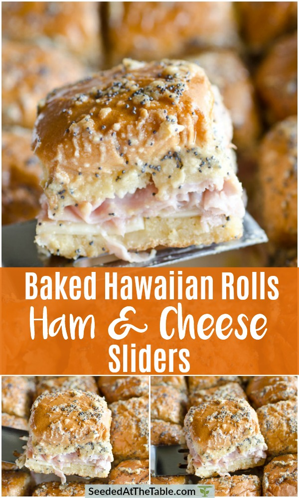 These ham and cheese sandwiches are baked in Hawaiian rolls with a buttery mustard poppy seed topping. They are a classic party appetizer, but my family eats them for lunch and dinner, too! Serve these ham and cheese sliders right from the oven to the table!