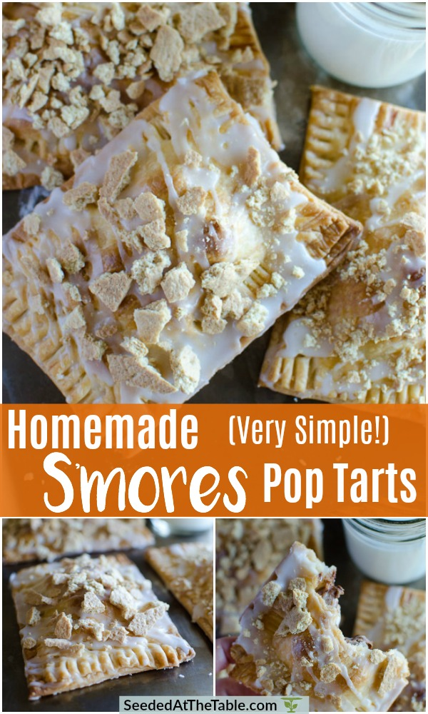 collage of homemade smores pop tarts with a glass of milk