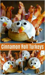pinterest collage for cinnamon roll turkeys