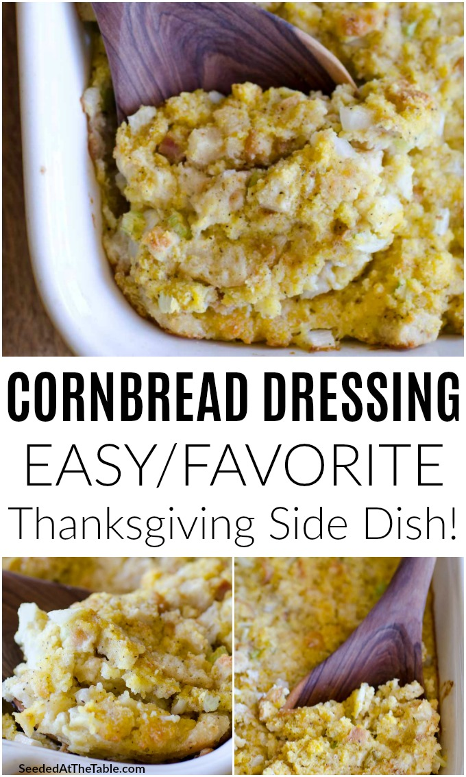 This easy cornbread dressing is the perfect side dish for the holidays!  There is nothing more comforting than this moist and delicious side dish for Thanksgiving and Christmas.