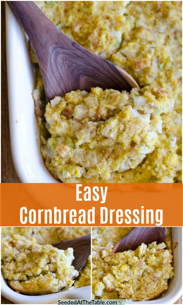This Easy Cornbread Dressing is the perfect side dish for the holidays! There is nothing more comforting than moist, delicious southern cornbread dressing as a side dish for Thanksgiving and Christmas.