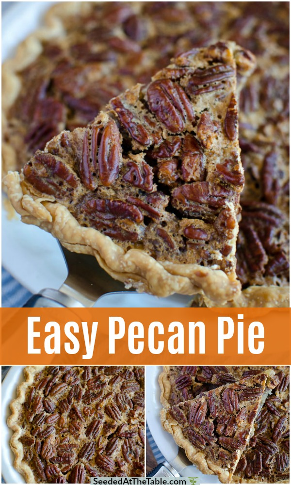 The BEST and easiest Pecan Pie recipe for the holidays. This classic southern pie is easy with just a few ingredients and few minutes. Our favorite pecan pie filling is loaded with pecans and uses a pre-made pie crust.