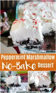 Collage of Christmas marshmallow dessert scooped from pan