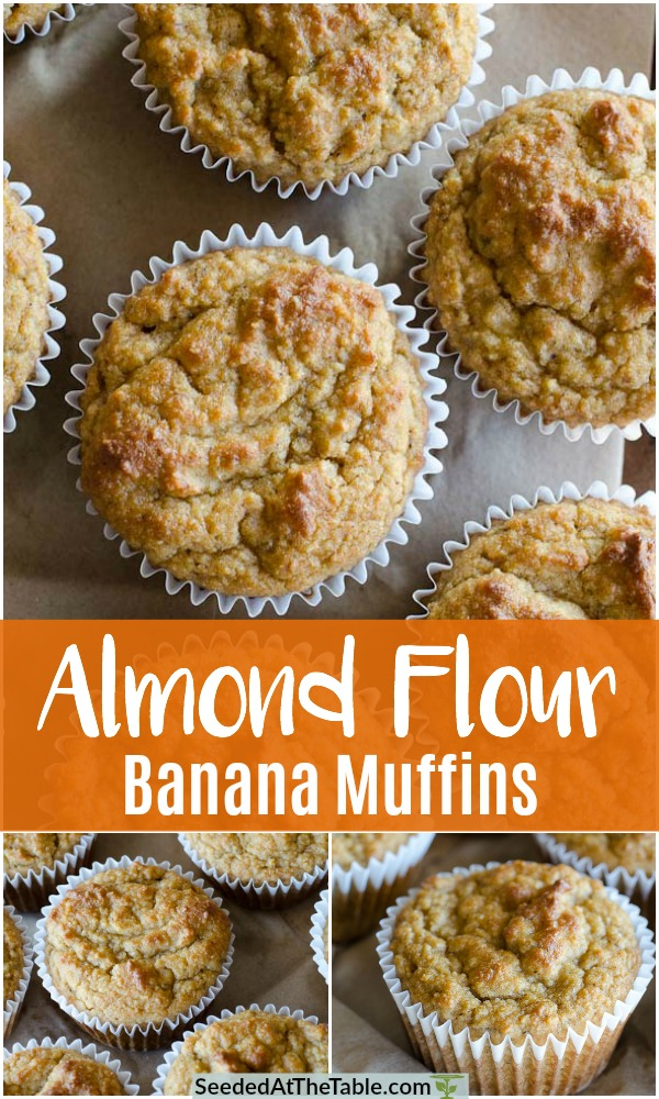 Collage of almond flour banana muffins.