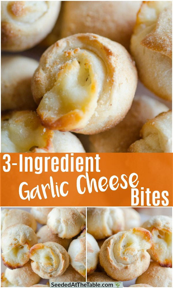 Get these Garlic Cheese Bites into the oven within 10 minutes and only 3 ingredients.  These gooey and cheesy bread rolls are the perfect easy appetizer for pizza night or any party!