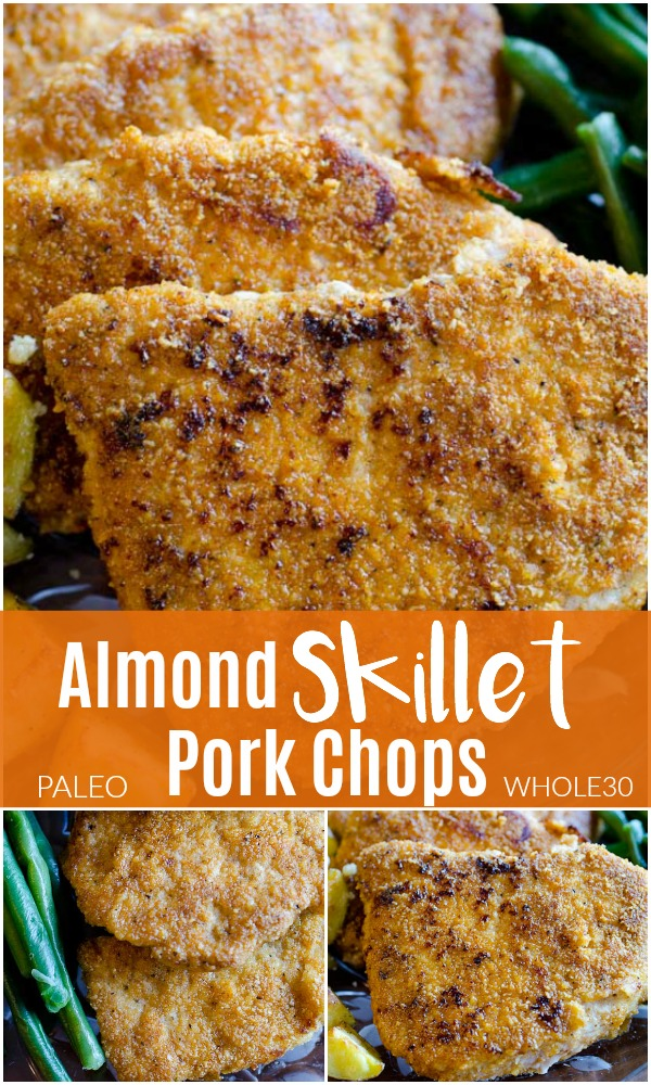 This Almond Pork Chops recipe is an EASY 30-minute weeknight meal. These skillet pork chops are a healthy dinner choice for your busy family. Paired with potatoes and veggies, it's one of our favorite meals!