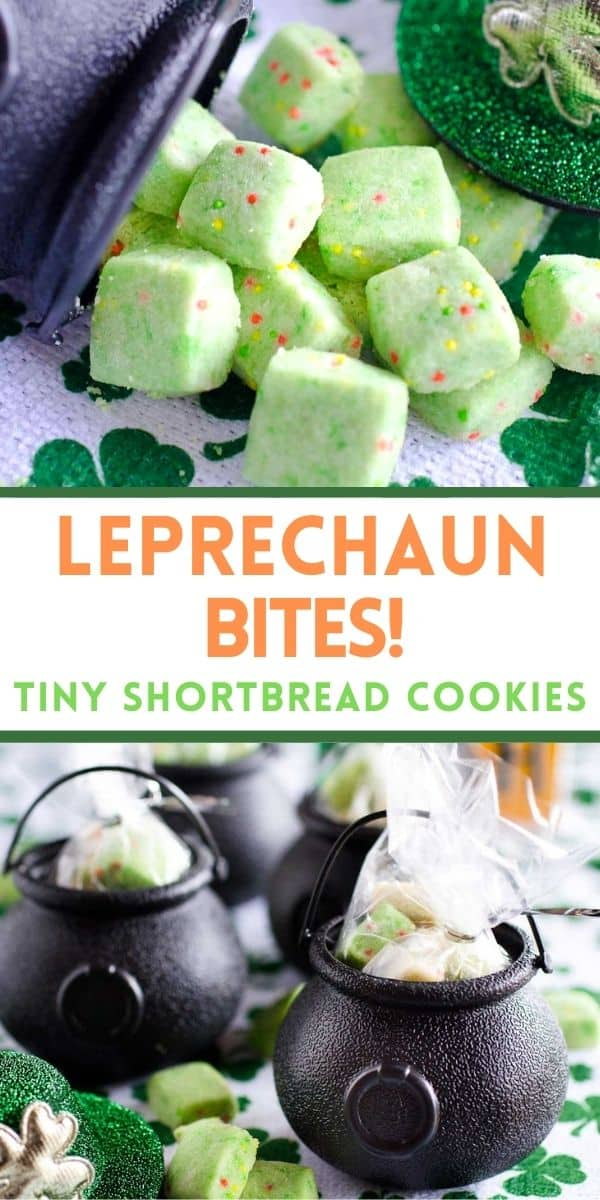 Leprechaun Bites are tiny shortbread cookies with festive sprinkles. These green cookies are perfect to bag up in treat bags or miniature cauldrons for festive Saint Patrick's Day gifts!