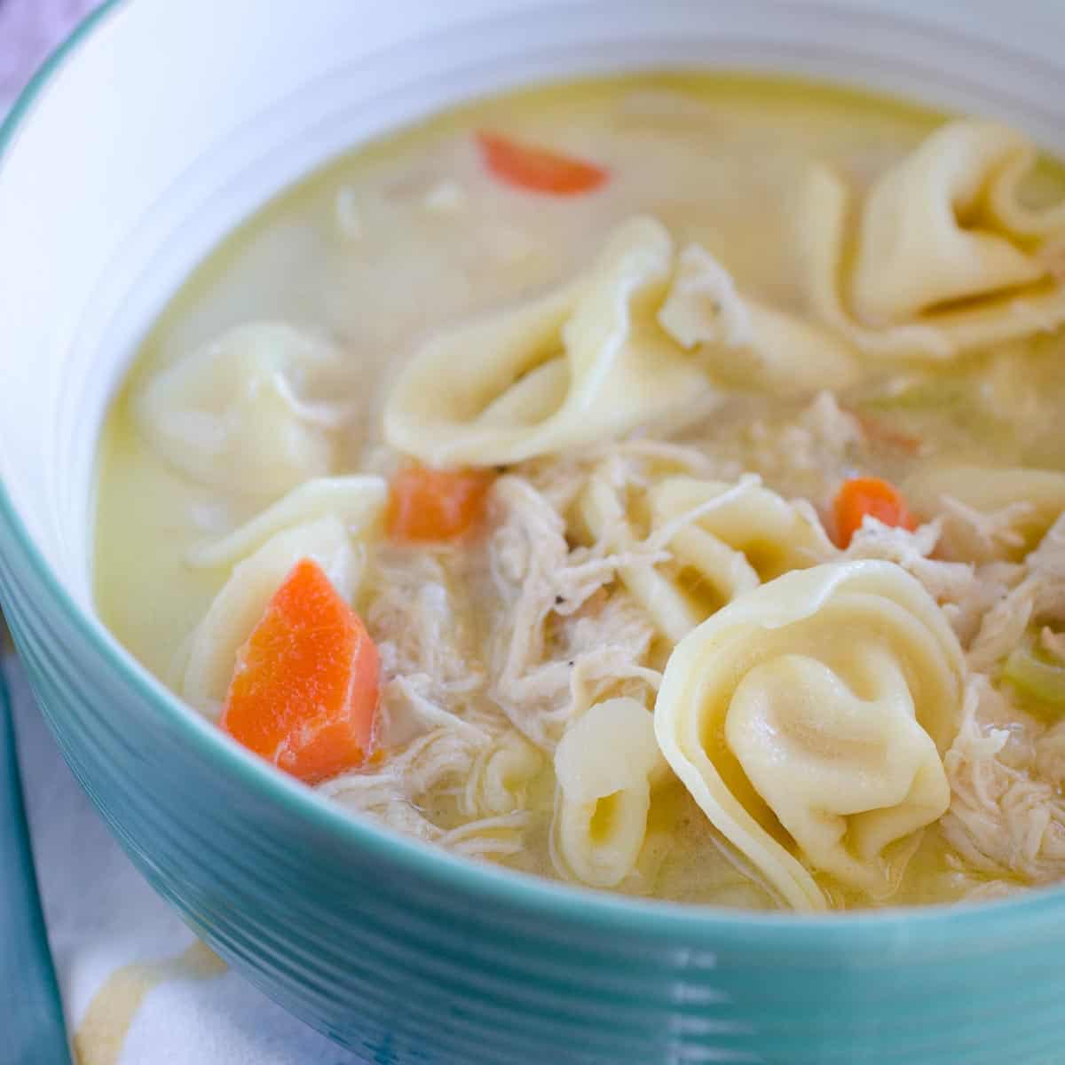bowl of leftover chicken and cheese tortellini soup